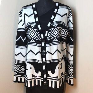 Depri Black and White Sweater Size Large